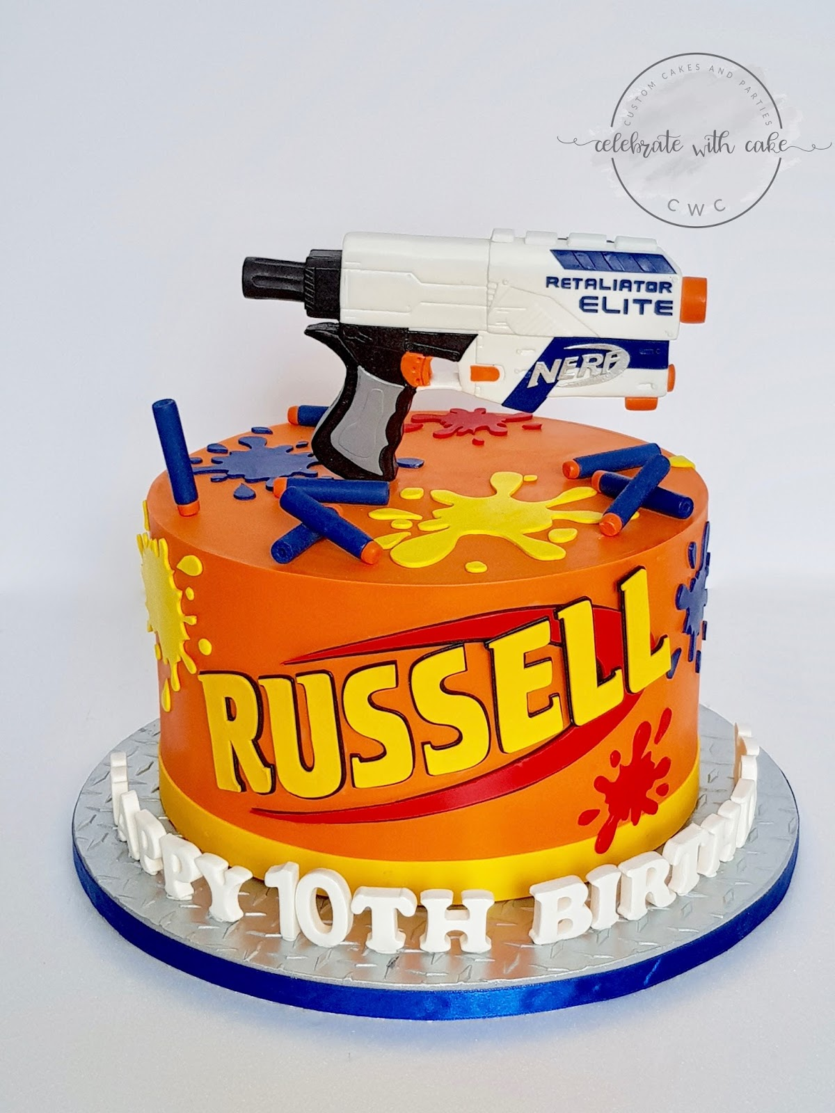 Outstanding Celebrate With Cake Nerf Gun Retaliator Cake Personalised Birthday Cards Veneteletsinfo