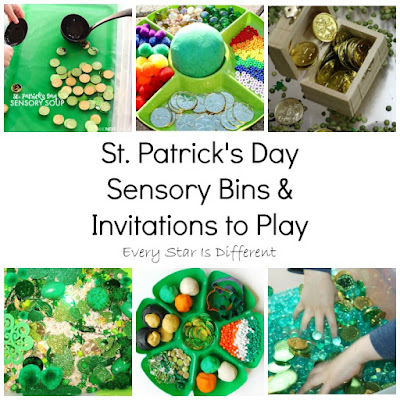 St. Patrick's Day sensory bins and invitations to play