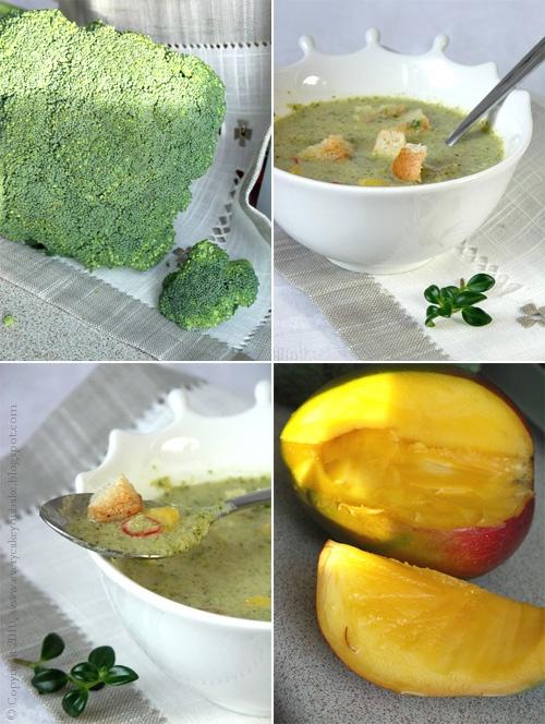 egzotyczna zupa brokułowa z imbirem i mango