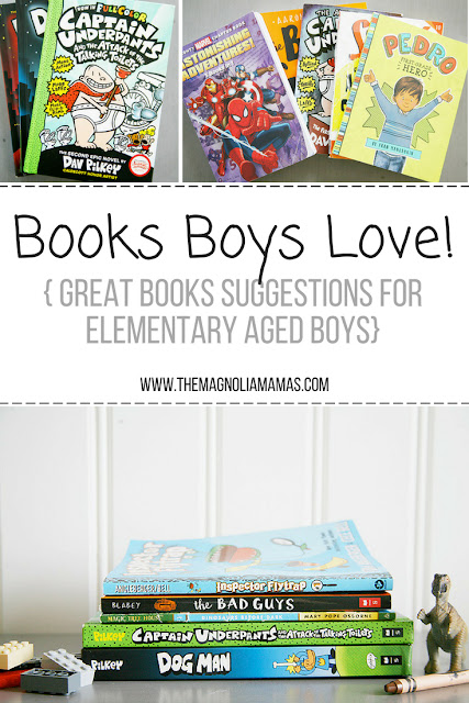 Books boys love! Great book suggestions for elementary aged students. Book series for kids in elementary school.