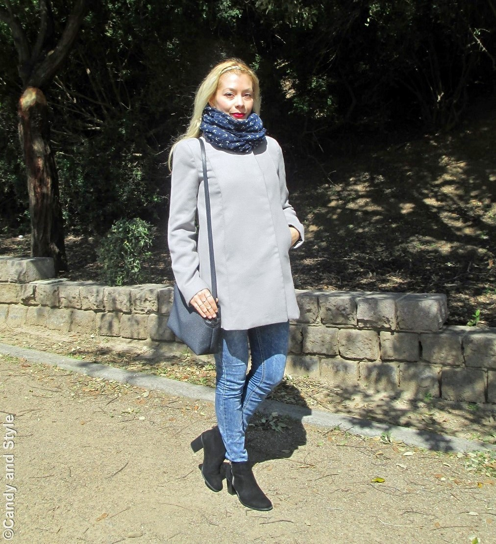 AnchorScarf+GreyCoat+Denim+AnkleBoots+CrossbodyBag+RedLips+BraidHeadband - Lilli Candy and Style Fashion Blog