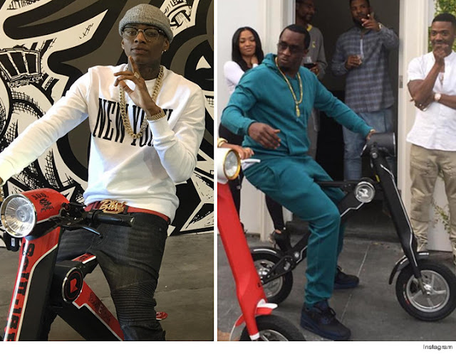 Soulja Boy and Diddy Riding on Scoot-E-Bike