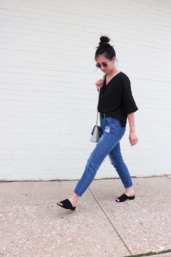 casual street style, minimal, blogger, outfit, jeans, mules