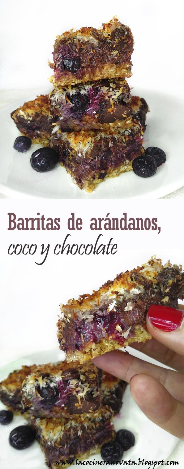 BARRITAS DE ARANDANOS, COCO Y CHOCOLATE horno receta vegana, paleo y sin azucar refinada la cocinera novata cocina receta reposteria vida sana bajo en calorias vegano platano