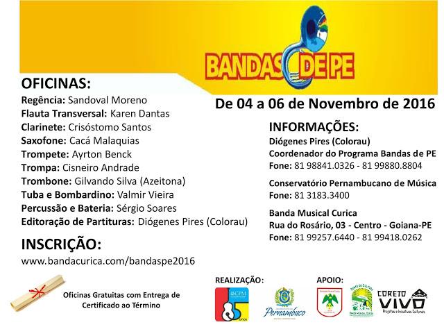 Oficinas de Prática Instrumental do Programa BANDAS DE PE, acontece de 04 à 06/11 na Sede da Banda Musical Curica