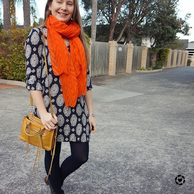 awayfromtheblue instagram fashion scarf girl orange plain crinkle scarf navy shift dress, ankle boots