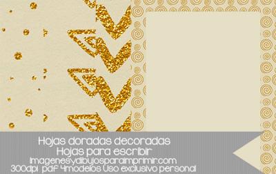 hojas con bordes decorados en dorado para imprimir