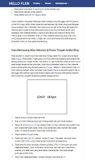 Cara Memasang Iklan Adsense di Posisi Tengah Artikel Blog - www.helloflen.com