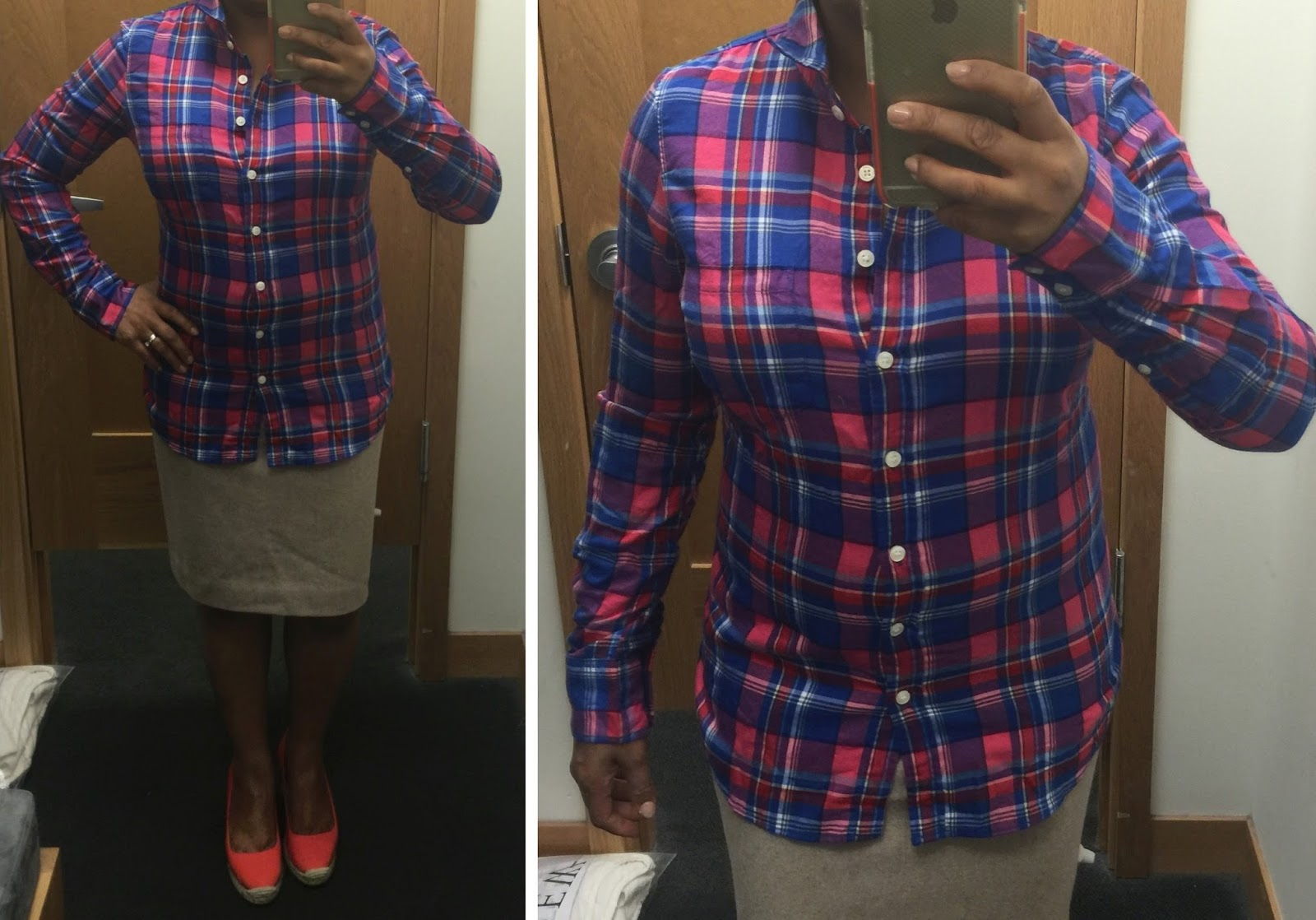 a94639d8 J Crew Factory flannel shirt, pencil skirt in double-serge wool ...