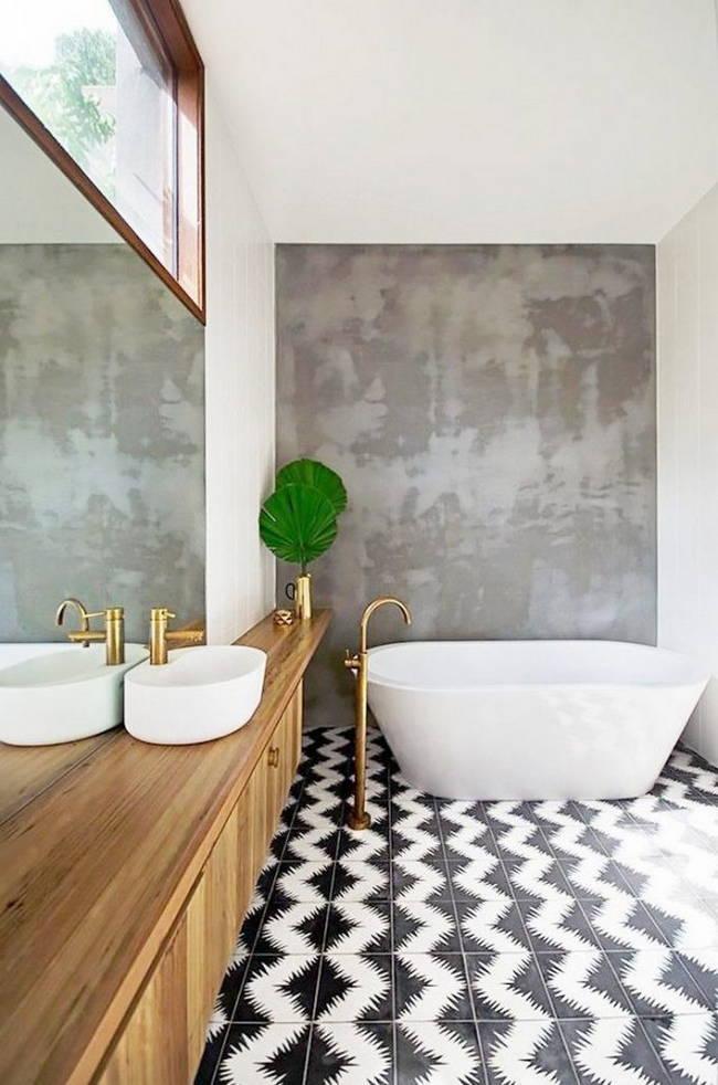 siyah beyaz desenli banyo zemin fayansı