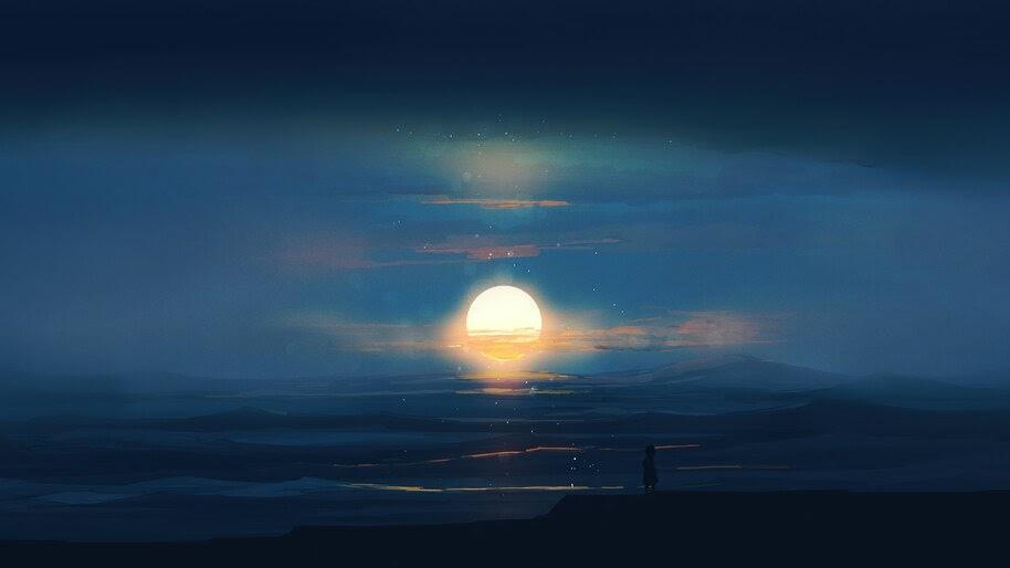 Sunset, Night, Scenery, 4K, #6.951