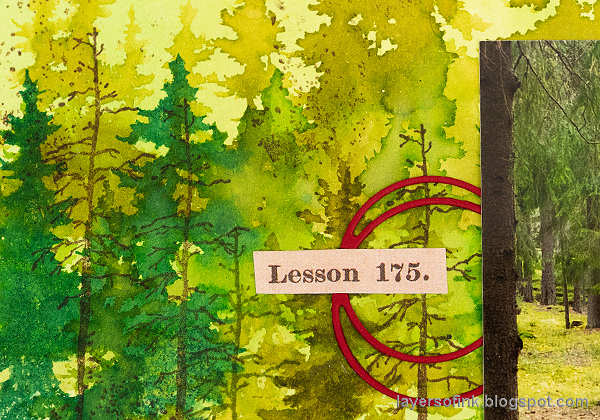 Layers of ink - Forest Layout by Anna-Karin Evaldsson. Layered watercolor forest.