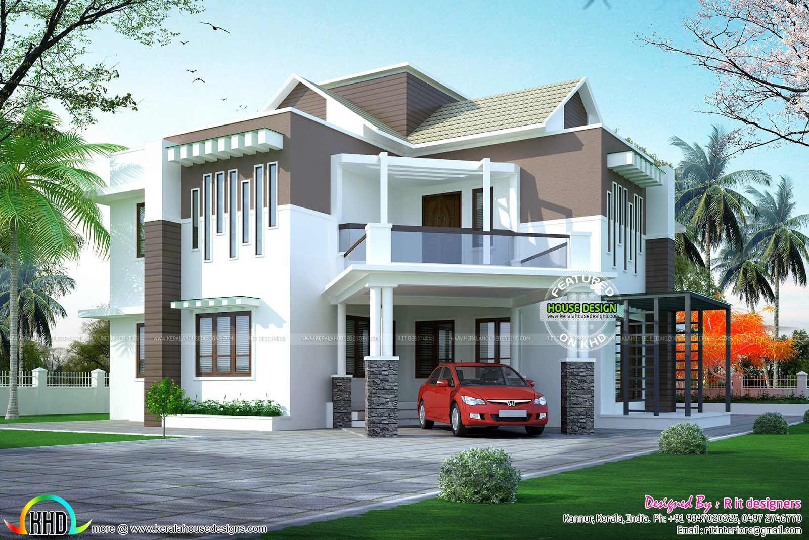 Slope Roof Over Flat Roof Home Kerala Home Design And