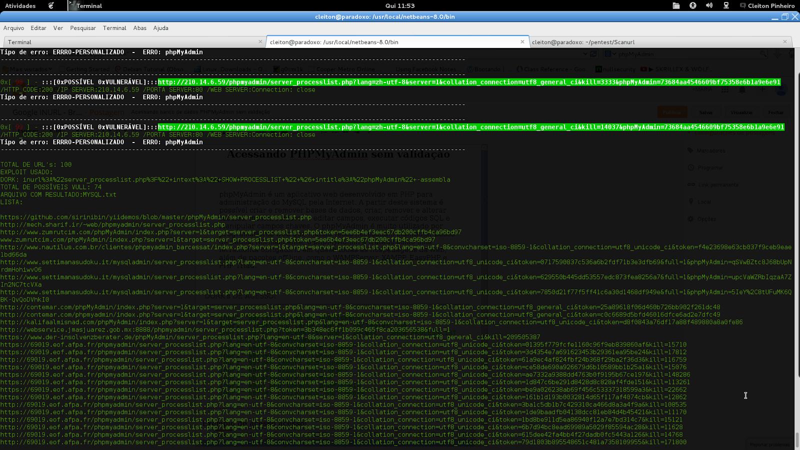 Usando SCANNER INURL para facilitar a busca.