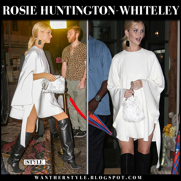Rosie Huntington-Whiteley in white mini dress and black leather knee boots jimmy choo hurley nyfw style september 8