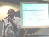 "K. Srinivasan addressing the participants on ""Stress and communication"""