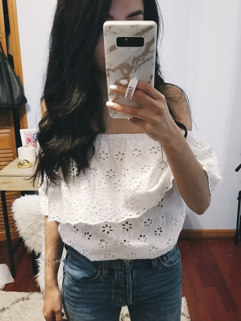 3fb10aee559 white off the shoulder embroidered eyelet top rue 21