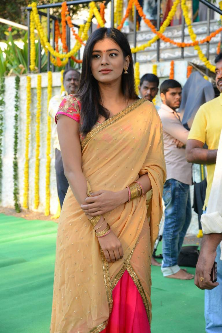 Hebah Patel Hot Hip Show In Yellow Half Saree At New Movie Launch