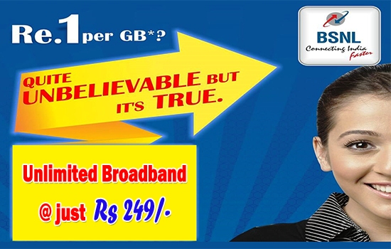 BSNL extended entry level Unlimited Combo Broadband plan 'Experience Unlimited BB 249' till 31st March 2017 in all the circles