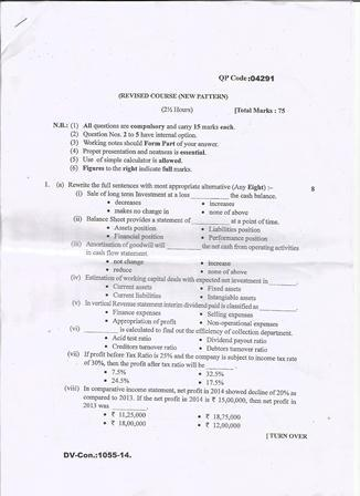 MU B.Com 5th Semester Management Accounting 2014 Question