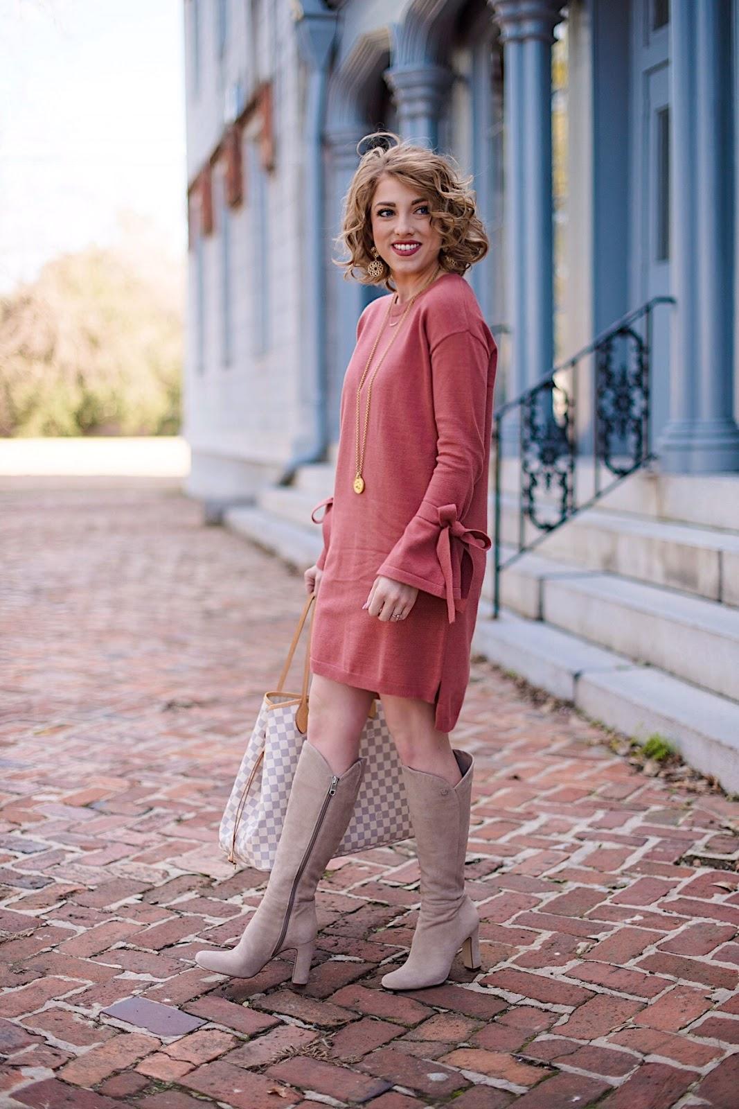 5f4b38950d9 Under  50 Tied Sleeve Sweater Dress. Tied Sleeve Sweater Dress - Something  Delightful Blog