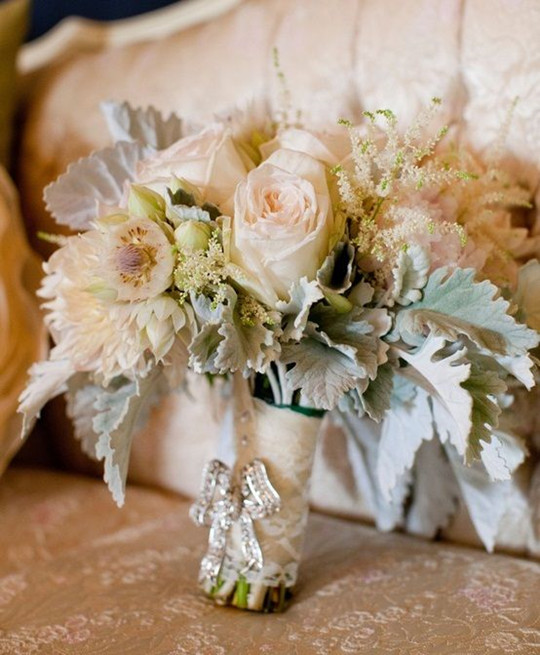 Neutral flower garden rose Wedding Bouquet