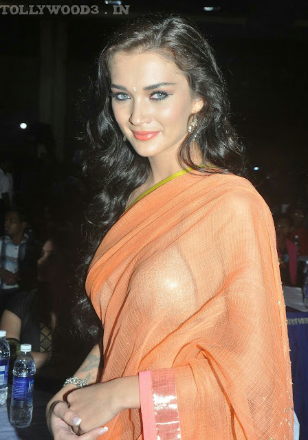 Amy Jackson Hot HD Photos In Transparent Orange Saree.