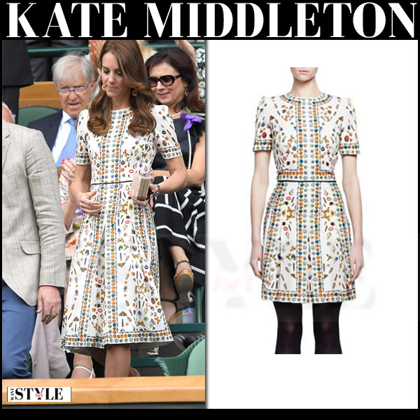 Kate Middleton in white skull and butterflies print dress alexander mcqueen obsession what she wore wimbledon
