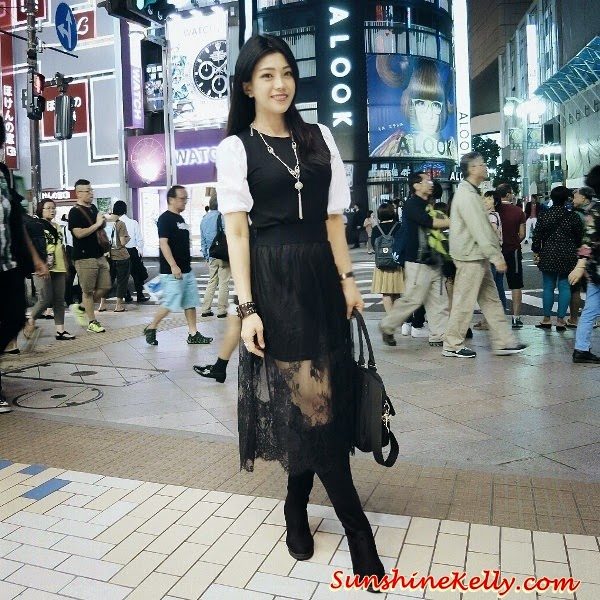 ootd, corshacomo, korean fashion trend, Black Blouse with Puff White Sleeves by Corshacomo, puffy sleeve, lace skirt, knee length boots, ootd tokyo japan, ootd kuala lumpur malaysia, corshacomo ling bl