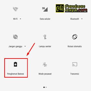 Mengaktifkan penghemat baterai di Android One via toggle