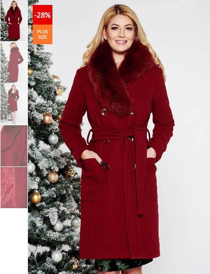 Palton lung visiniu elegant cu un croi drept din lana cu guler din blana naturala