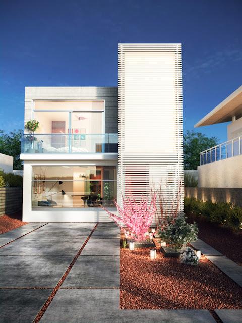 Render de fachada de casa pequeña