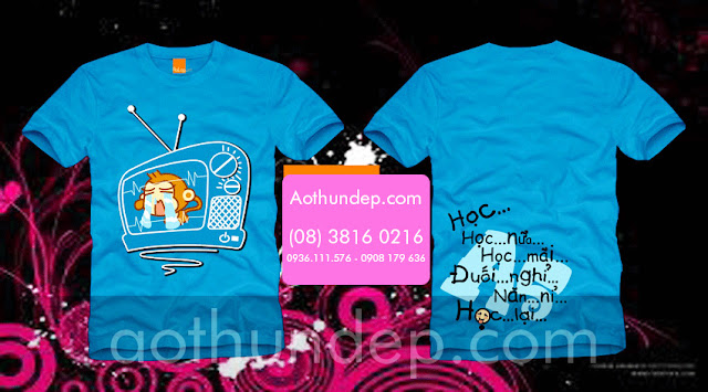 Áo lớp nổi bật màu xanh cổ tròn in hình chiếc TV với con khỉ - Mã AL61