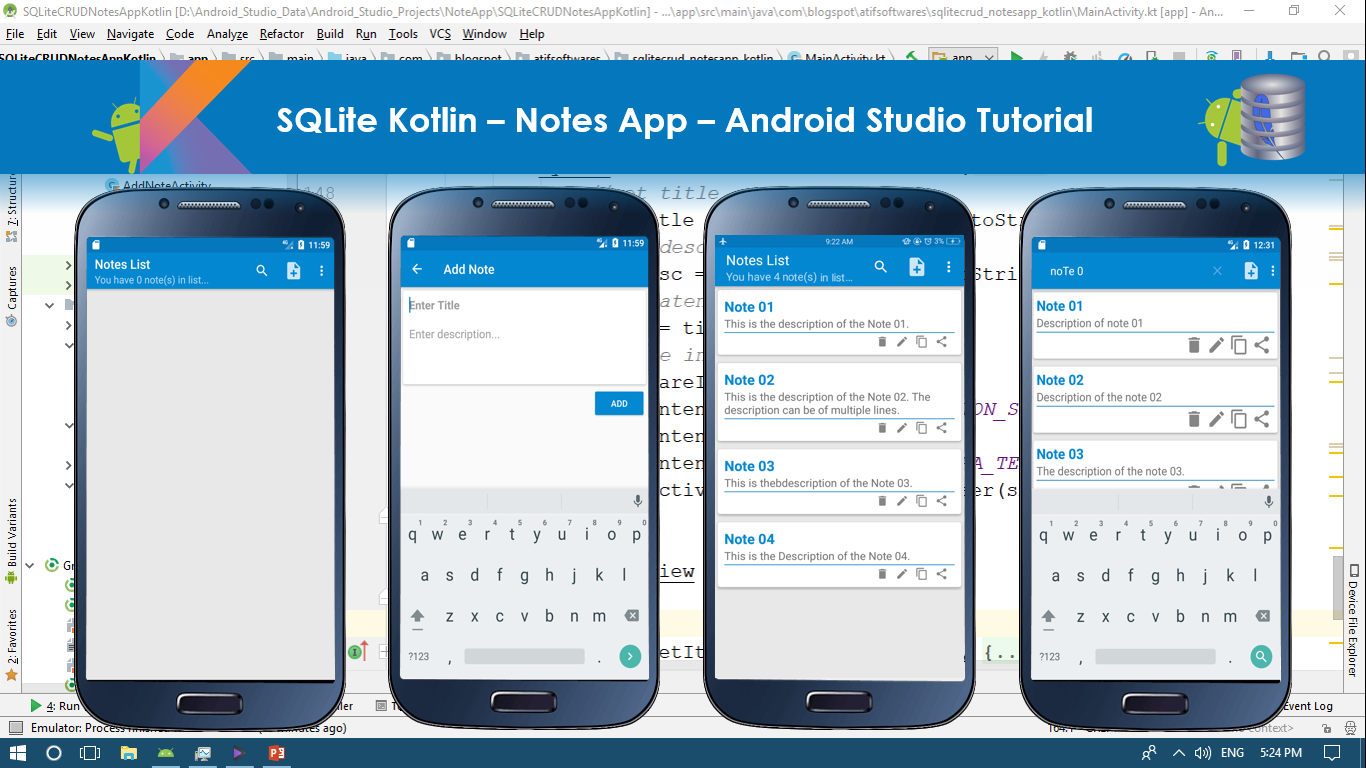 SQLite Kotlin – Notes App – Android Studio Tutorial