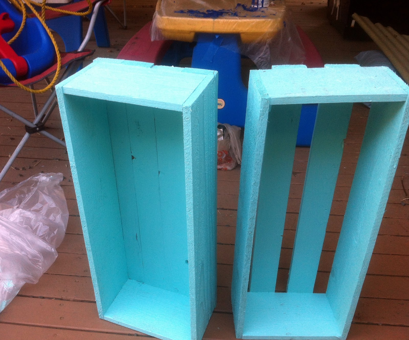 teal diy milk crates