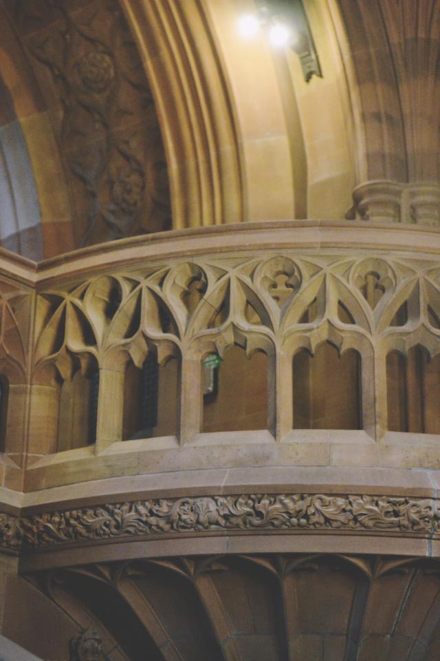 John Rylands library stone balcony