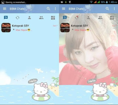 BBM Change Background With Hello Kitty  (Light Style) 2