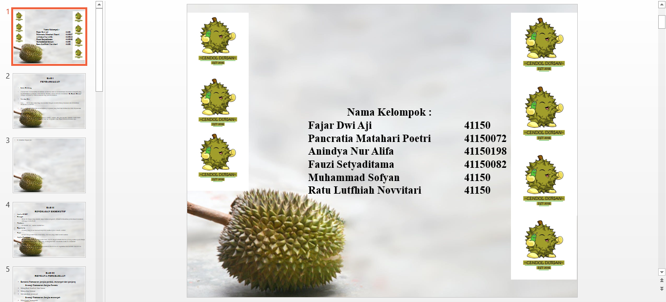 Ppt Presentasi Bisnis Plan Es Cendol Durian