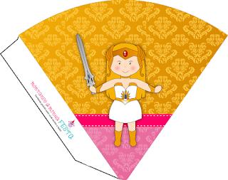 Conos= Cucuruchos para Imprimir Gratis de She Ra Bebé.