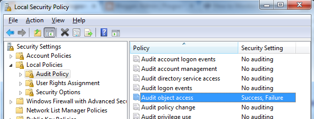 Enable Event ID 4663 via Local Security Policy