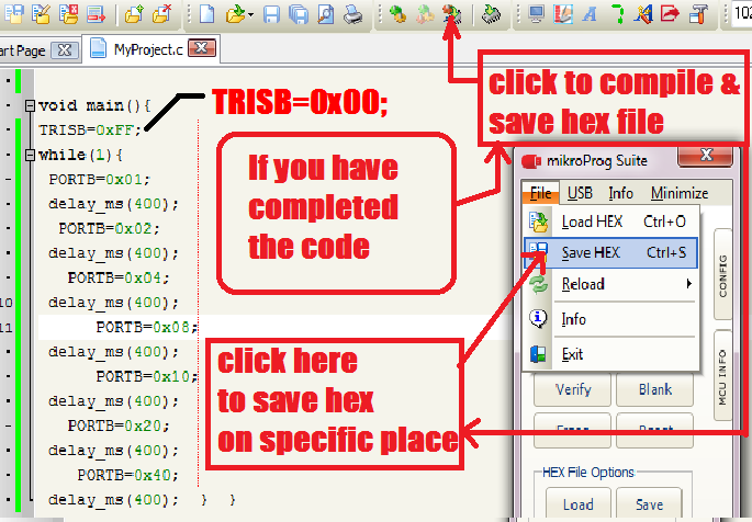 How to Create Hex file in mikroC