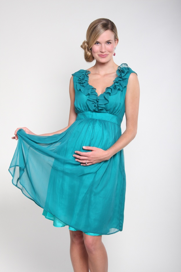 8334192a8b2a Chiffon One-Shoulder Empire Column Short Maternity Bridesmaid Dress