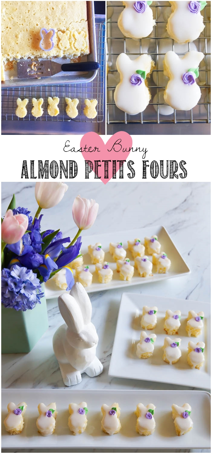 Easter Bunny Almond Petits Fours from bakeat350.net