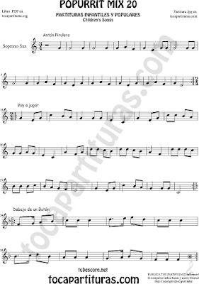 Partitura de Saxofón Soprano Popurrí Mix 20 Partituras de Antón Pirulero, Voy a Jugar, Debajo de un Botón Infantil Sheet Music for Soprano Sax Music Scores