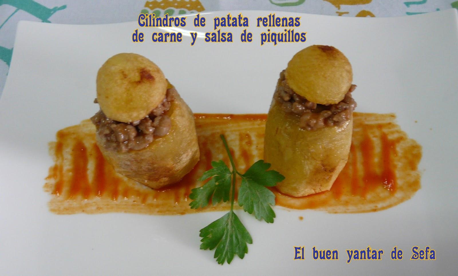 El buen yantar de sefa cilindros de patata rellenos de carne y salsa de piquillos - Salsa para relleno de carne ...