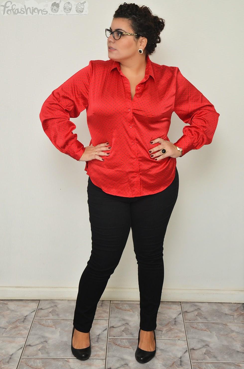 75a832545 Look do dia  blusa social toque de seda para gorda!