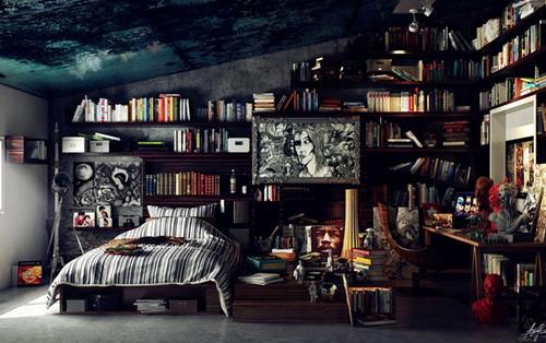 interior kamar tidur anak laki-laki gaya perpustakaan