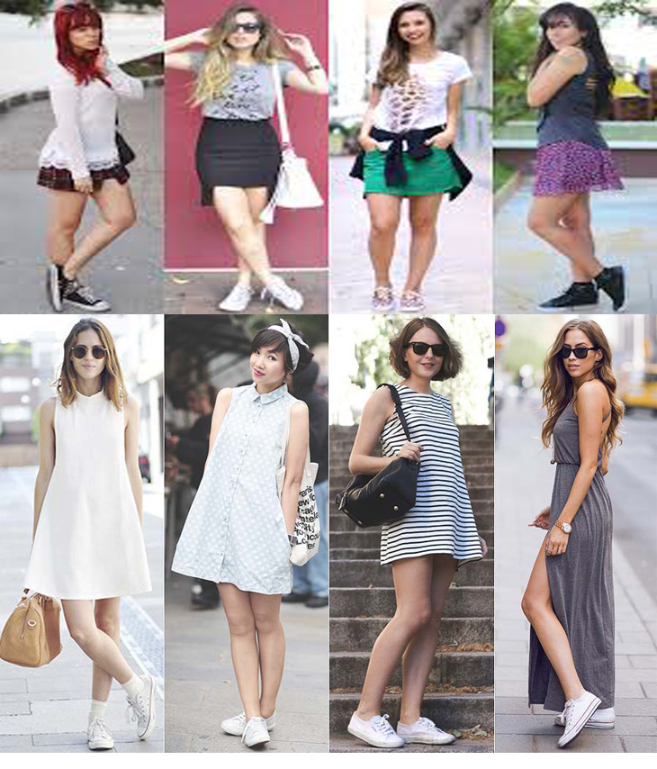 Tênis com saia, dicas de moda, inspirações