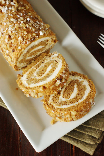 Classic Pumpkin Cake Roll w/ Cream Cheese Filling by The Kitchen is My Playground