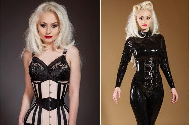 Waist training corset: Fetish model wears steel corsets to